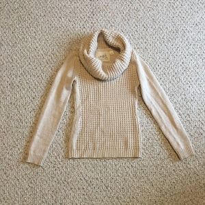 Angel of the North Waffled Cowl Neck Sweater Cream